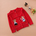 Wholesale korean cotton bear girls cardigan new design knitting patterns for yd kids clothing sweaters