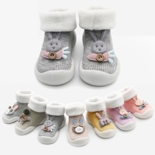 JY410 Children'<strong>s</strong> rubber sole toddler shoes and socks baby soft sole thickening with fleece baby home socks