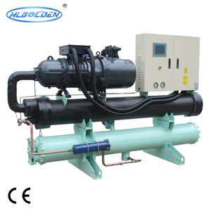 Double compressor screw type commercial water source heat pump