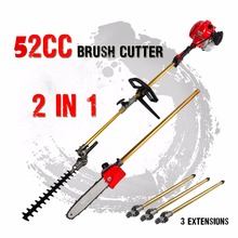 New 52cc Long Reach Pole Chainsaw Hedge Trimmer Brush Cutter Whipper Snipper Pruner Line Tree with 3 etend pole Garden Tools