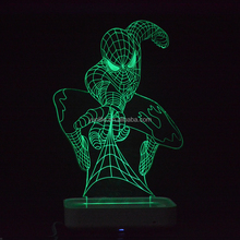 Spider man 3D effect table lamp 3d led night light acrylic lamp