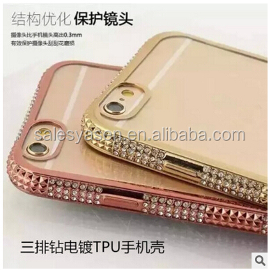 New arrival fashional 3D Luxury Rhinestone Bling Diamond Bumper Case Crystal Cover For iPhone 6 6 plus