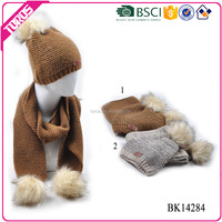 TOROS winter warm acrylic yarn dyed long wholesale women's knit hat and scarf sets with hairball