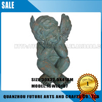 Resin Thinking Cherub angel figurines wholesale Arts Crafts (16WL0187)