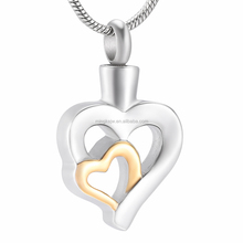 IJD9996 Double hearts hollow design 316L stainless steel cremation pendant jewelry women men