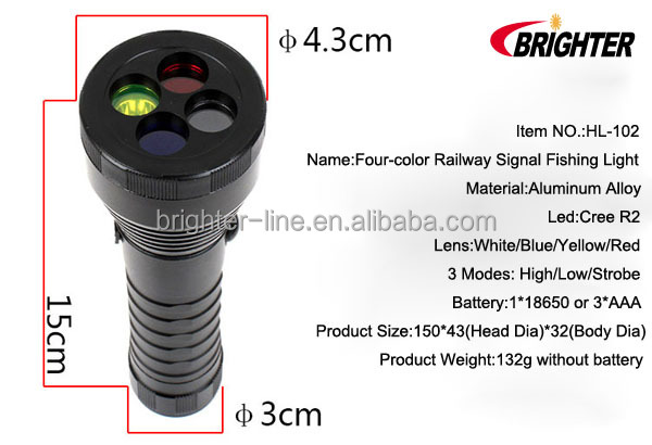 Brighter HL-102 White/Blue/Yellow/Red Light <strong>Cree</strong> R2 Railway Signal Light Fishing Light Emergency Led Light