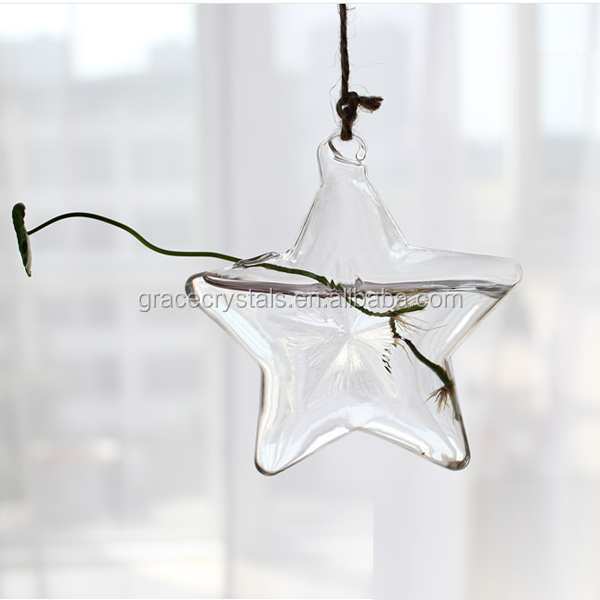 Cheap star shape small fancy clear glass vase
