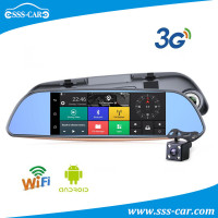 7 inch car rearview dvr mirror gps android 5.0 bluetooth 3G system with dual camera lens