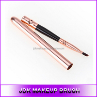 High-end Copper Retractable rose gold compact synthetic makeup lip liner brush applicator Private label lip brush