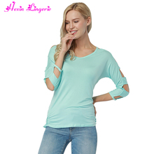 Entrancing Blue 3/4 Sleeves Cut Out fashion cutting stitching blouse ladies