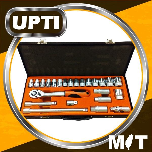 "Taiwan Made High Quality 24pcs 1/2"" Dr. Ratchet Handle Socket Wrench Set Hand Tool Set"