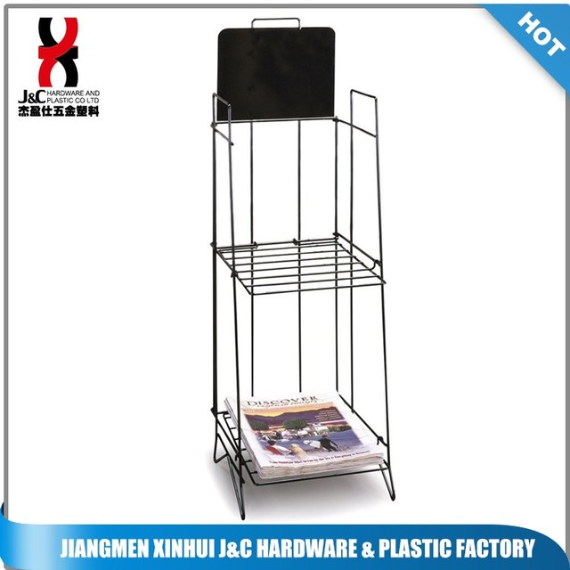 Metal Wire Newspaper Magazine Display Rack / Brochure Display Holder