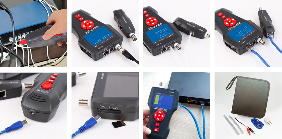 Sample available digital measuring instrument Lan network cable tester NF-8601 PING & POE tester