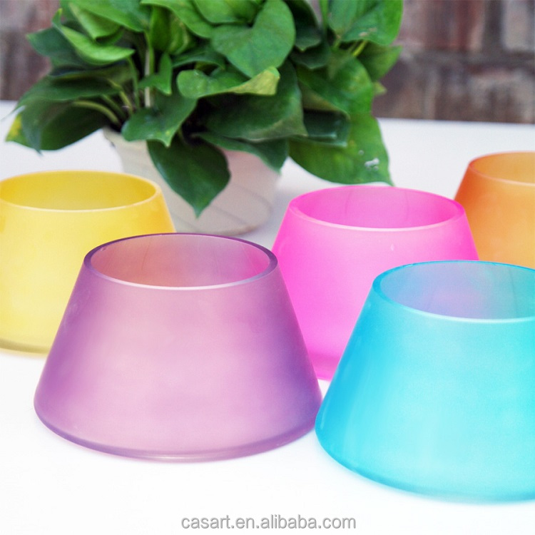 Casart wholesale cone shape colored frosted glass vase