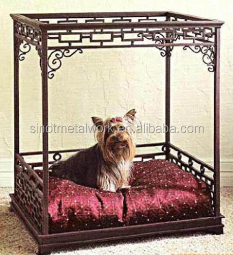 custom dog house pet accessories iron luxury pet dog large bed elegant metal frame pet bed