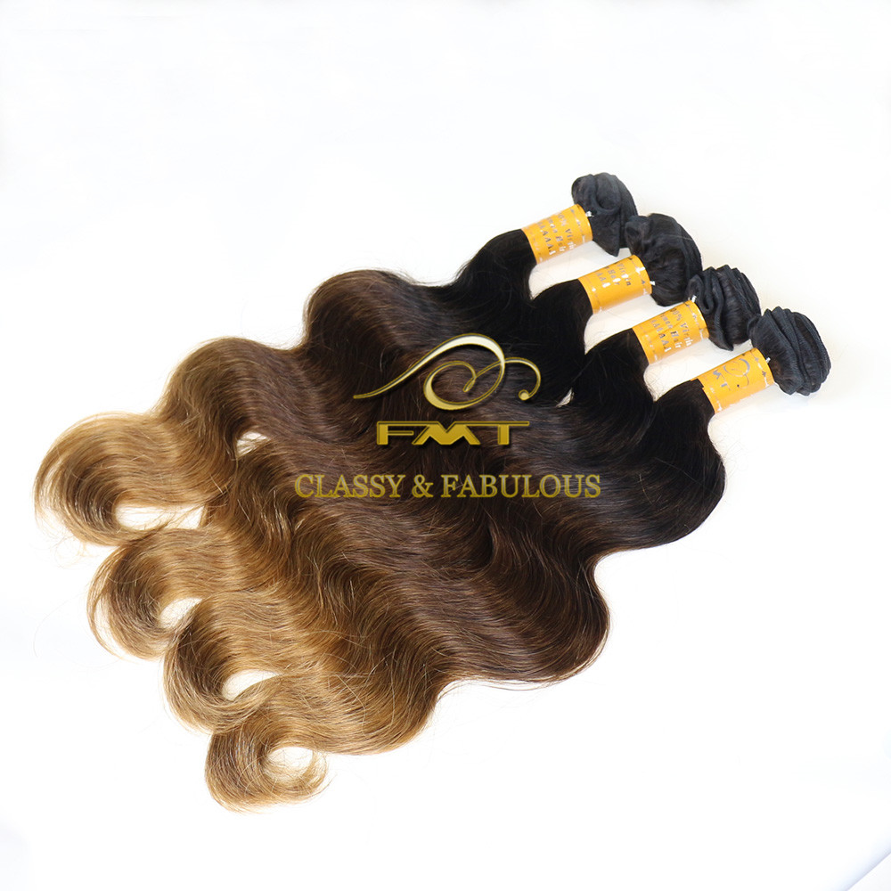 Good quality best price #1b-4-27 3 tone color ombre hair extension