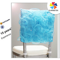 Latest designs organza yarns embroider chair cap covers aqua blue