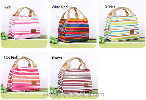 Insulated Thermal Cooler Portable Canvas Stripe Lunch Tote Carry Case Picnic Bag