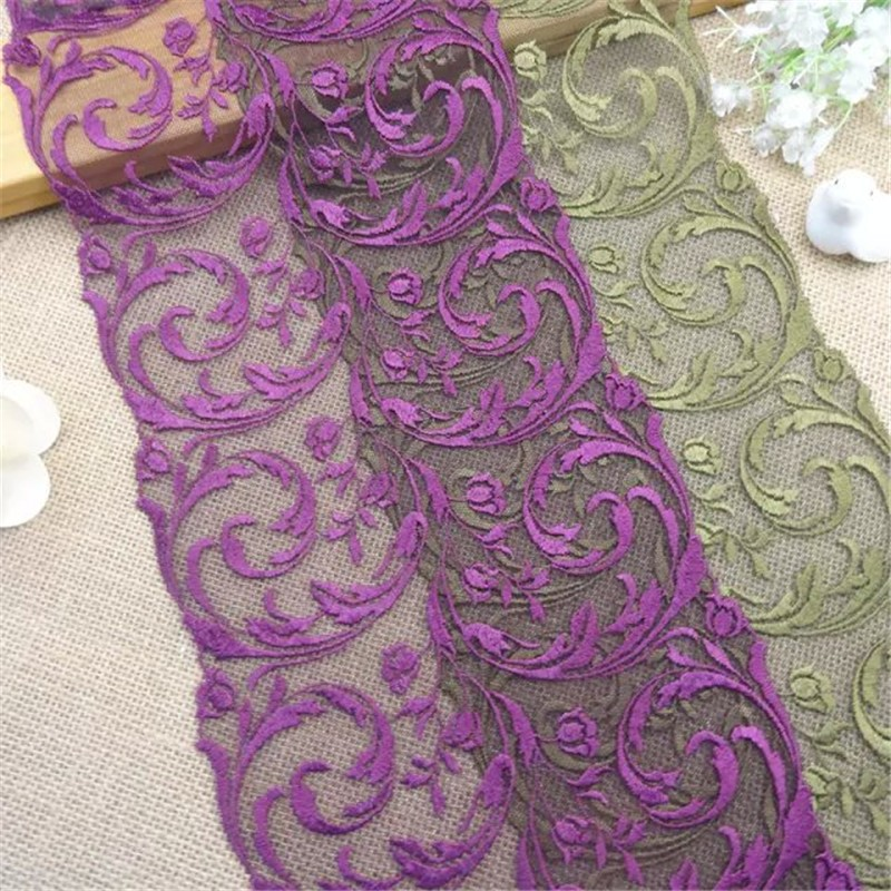 purple green victorian embroidered tulle lace trim