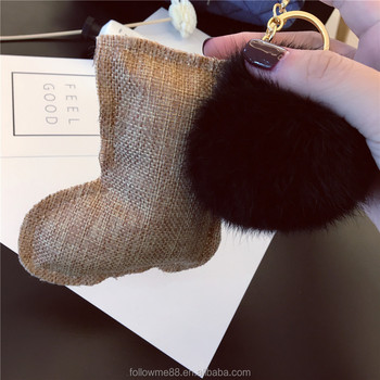 Latest style Christmas elk/christmas tree shape with rex rabbit/ fox fur Key Ring Keychain for gifts christmas key hang FK044a