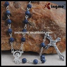 Catholic Gift 6mm Dark Blue Acrylic Rose Beads Rosary with Hail Mary Center
