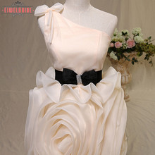 Mini Ruffled Front Design Handmade Flower Evening Prom Dress For Women