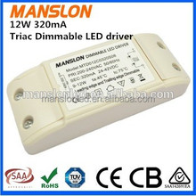 SAA approved Meanwell LED lighting power supply constant current dimmable led power driver 12W