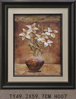 TY-H007 3D ceramic flower pot painting designs for wall decor framed painting of flower in vase