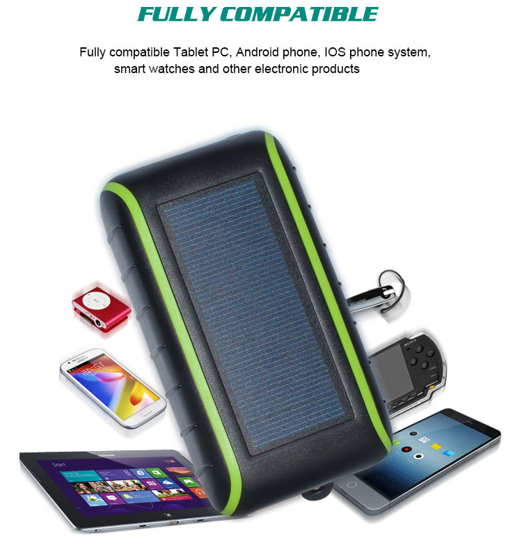 Portable Waterproof solar power bank Dual-USB Solar Battery Charger Hand Crank for <strong>Cell</strong> <strong>Phone</strong>
