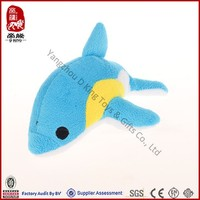 Custom ICTI SEDEX stuffed plush blue dolphin