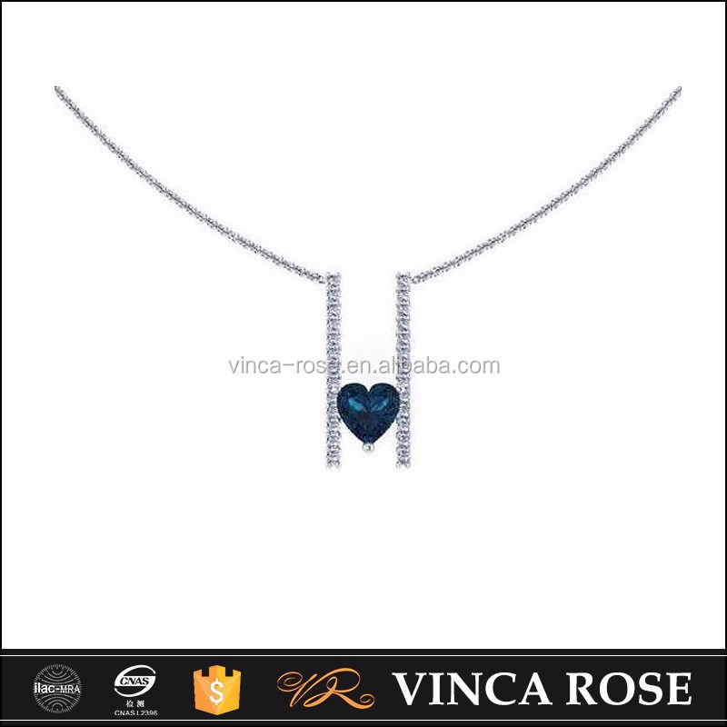 Small natural sapphire stone heart shaped diamond necklace pendants for jewelry making