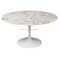Highly Polished Round White Marble Coffee Kitchen Tables Top
