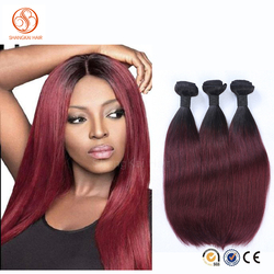 Dark Root Ombre Hair Extensions 1b/99j Peruvian Virgin Hair Straight Wavy Red Wine Two Tone ombre Human Hair