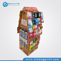 Retail Shop Corrugated Paper Cardboard Hook Display Stand With House Shape