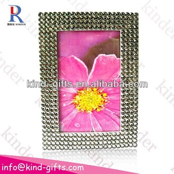 Fashional ornate crystal embellished bling bling white rhinestone acrylic magnetic photo frame