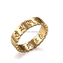 Stainless Steel Gold Plated Hollow Om Mani Padme Hum Buddha Symbol Mantra Ring Bands for Women