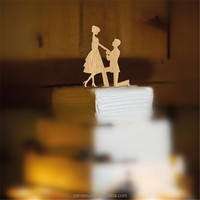 Elegant personalized wood marriage wedding cake topper for cake decoration