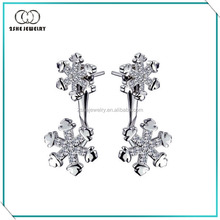 Popular snowflake silver ear jacket earrings