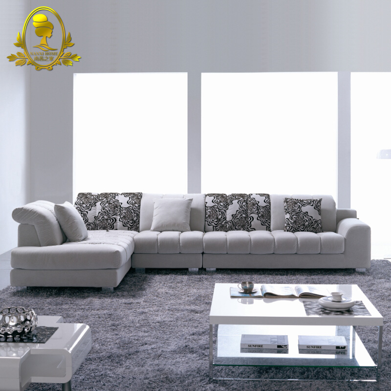 modern leather sofa corner L shape fabric sofa living room furniture