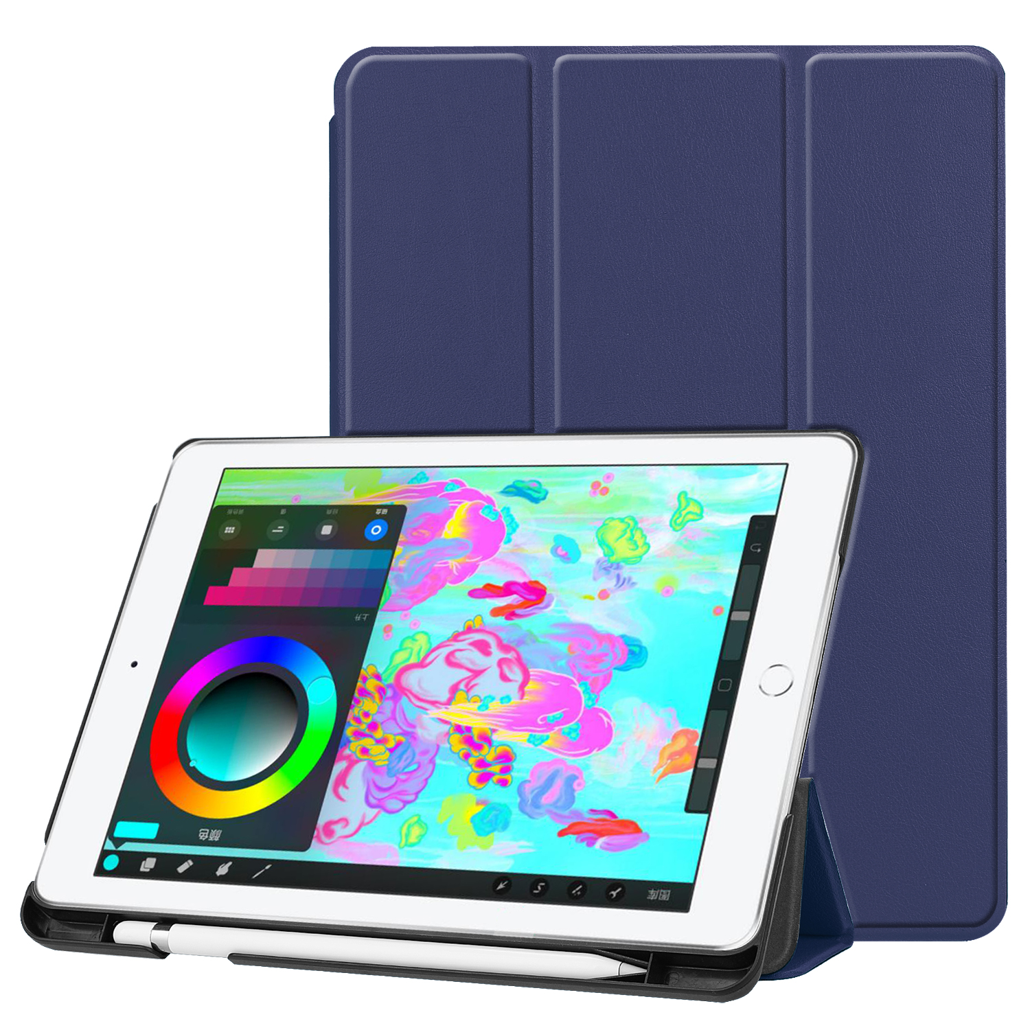 For <strong>iPad</strong> 9.7 2018/2017 Case, Lightweight Smart Leather Case Trifold Stand with Auto Sleep/Wake Function