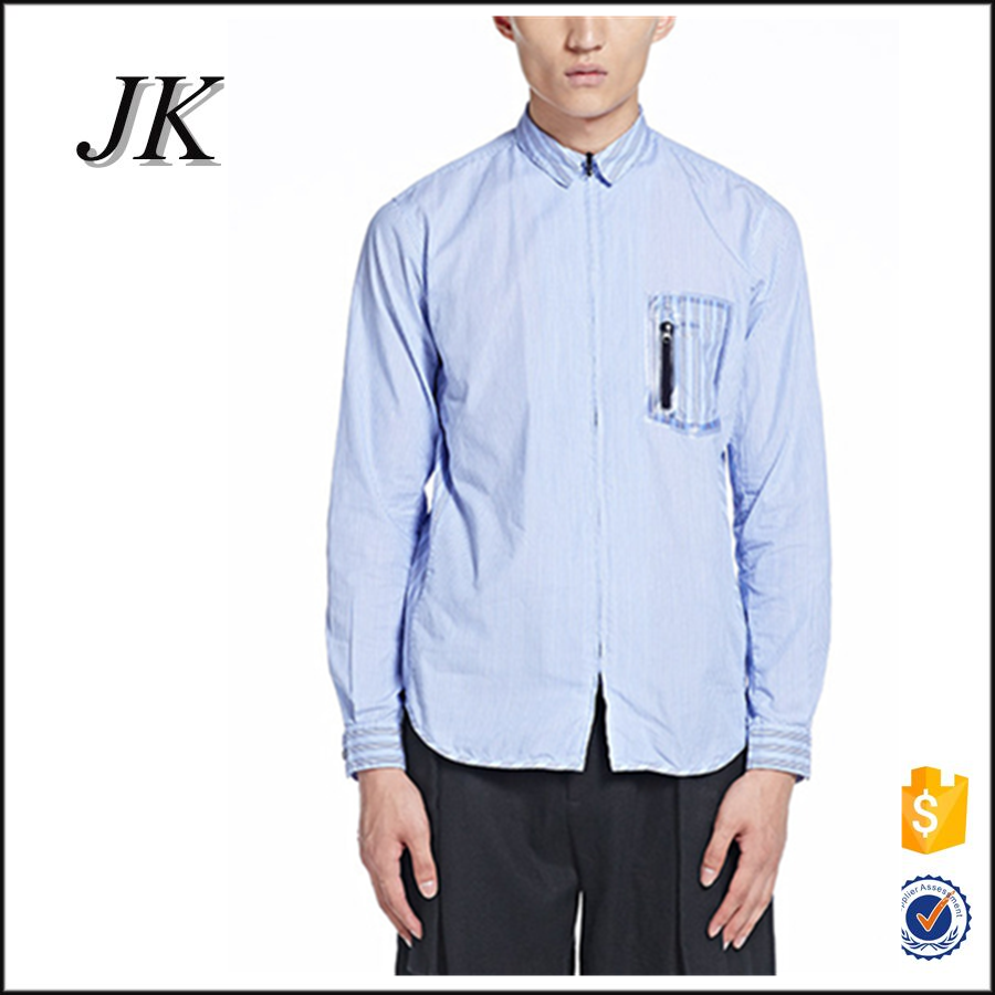 latest mens vertical striped zipper up no buttons special zipper pocket design <strong>shirt</strong>