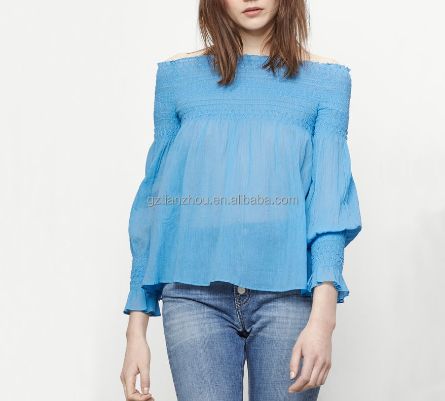 Guangzhou clothing apparel OEM 100% Cotton long sleeves smocking Flared cut retro Bohemian chic Pleated off the shoulder top