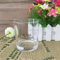 Round Clear Tableware Glass Cup Beer Glass Soy Candle Holder with Customized Decal
