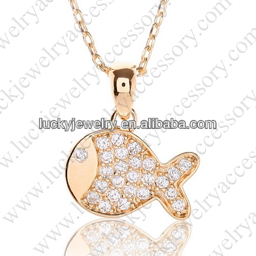 Wholesale Fashion Fish Gold Pendant Necklaces with Zircon Diamond Top Quality