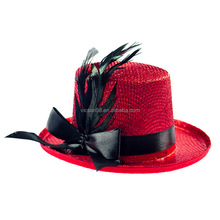 black ribbon and feather red mini top hat