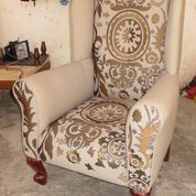 Designer armchair ethnic bohemian style with embroidery