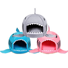 Shark Pet House with Removable Bed Cushion Mat for Dogs and Cats