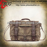 2014 new arrival vintage canvas imitation leather hand bag manufacture wholesale in Guangzhou