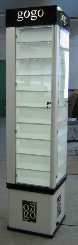 new design acrylic display rack with light high cabinet for jewelry show