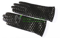 Ladies' fashion sheep skin gloves, hand weaved leather strip back